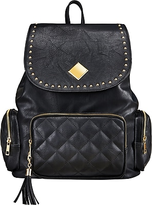 Staples Newbury Rucksack Backpack with Studs, Black (52416)