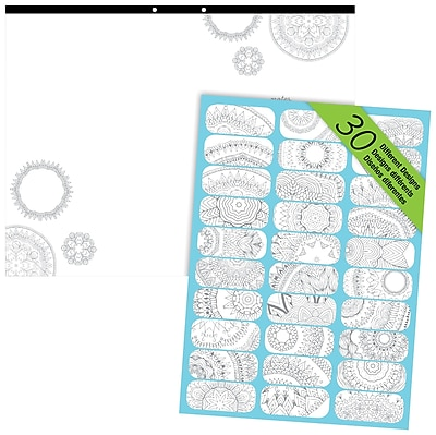 Blueline® DoodlePlan™ Notes Coloring Desk Pad, Mandala, 22