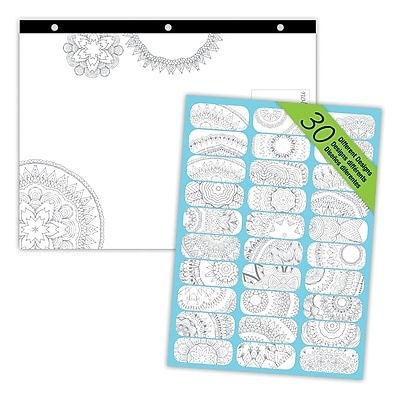 Blueline® DoodlePlan™ Notes Coloring Desk Pad, Mandala, 11