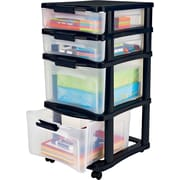 Staples/Bella Medium Plastic Storage Drawer Cart, 4 Drawer (28773)