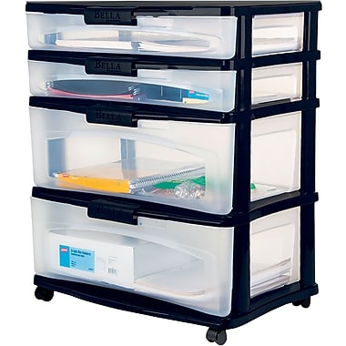 Bella Storage Solution® Wide Locking Desktop Plastic Storage Drawer Cart 4 Drawer  sc 1 st  Staples & Plastic Storage Drawers | Rolling Carts | Staples®