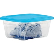 Staples 6 QT Storage Tote, Clear with Blue Lid (27593)