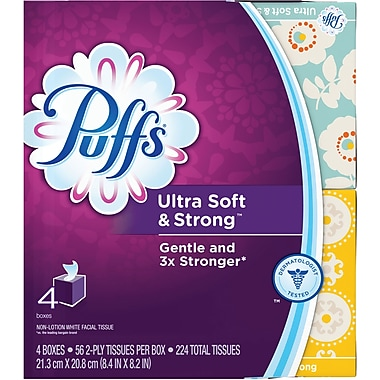 Puffs Ultra Soft Facial Tissues, 4 Cubes, 56 Tissues/Cube, 24/CT