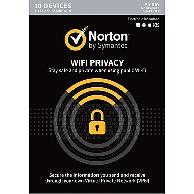 Norton WiFi Privacy VPN- 10 Device for Windows/Mac (1 User) [Download]