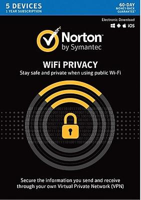 Norton WiFi Privacy VPN- 5 Device for Windows/Mac (1 User) [Download]