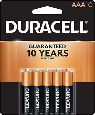 Duracell CopperTop Alkaline AAA Batteries, 1.5 V, 10/Pack (MN2400B10Z)