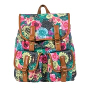 Rucksack Canvas Print Black with Colored Floral