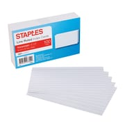 "Staples® 3"" x 5"" Heavy Weight Lined Ruled White Index Cards, 100/Pack"