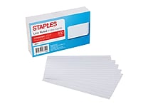 Staples® 3' x 5' Heavy Weight Lined Ruled White Index Cards, 100/Pack