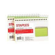 "Staples® 3"" x 5""  Line Ruled Assorted Neon Spiral-Bound Index Cards 2/Pack (50994)"