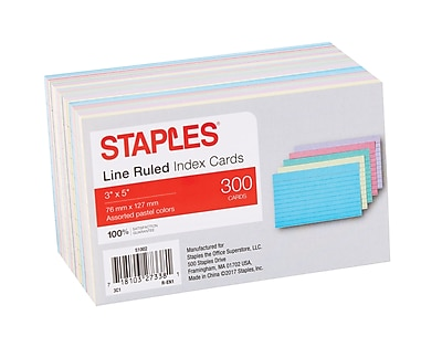 "Staples® 3"" x 5""  Line Ruled Assorted Pastel Index Cards, 300/Pack (51002)"