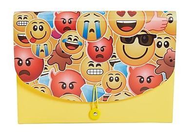 Staples® Emoji Plastic Expandable Reinforced 7- Pocket File, Letter Size