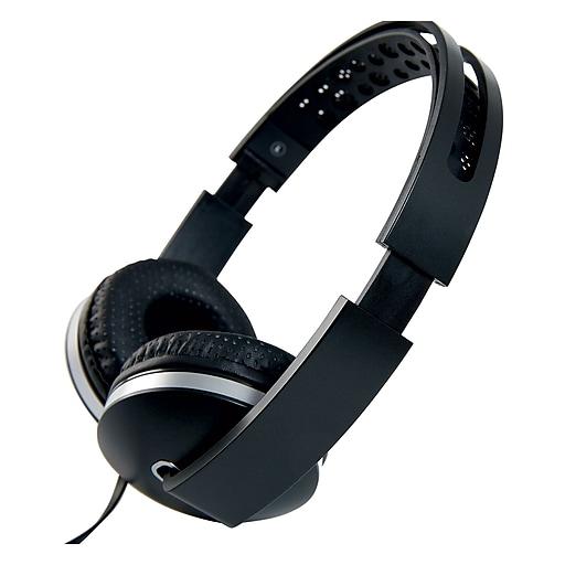 Staples On-Ear Stereo Headphones, Black