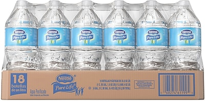 Nestlé® Pure Life Purified Water, 1-Liter Plastic Bottle, 18/Case