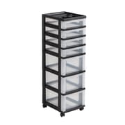 Staples® Plastic 7-Drawer Rolling Cart, Black and Clear (116864)