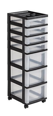 IRIS® Plastic 7-Drawer Rolling Cart, Black and Clear (116864)