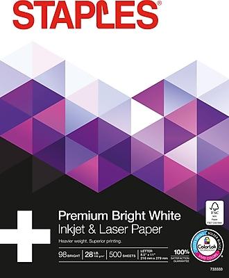 "Staples 8.5"" x 11"" Laser Paper, 28 lbs., 98 Brightness, 500/Ream (733333)"