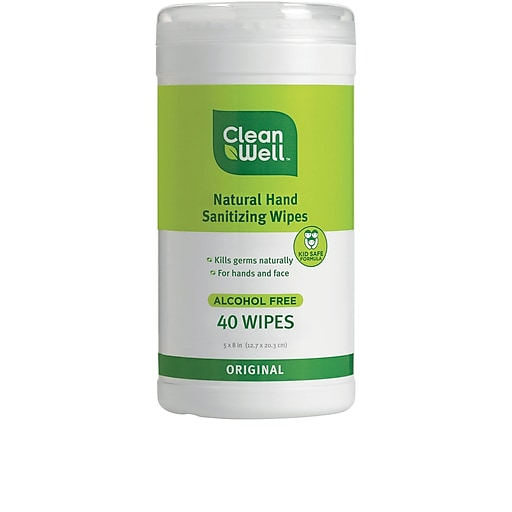 CleanWell All-Natural Hand Sanitizing Wipes, Original Scent 40ct