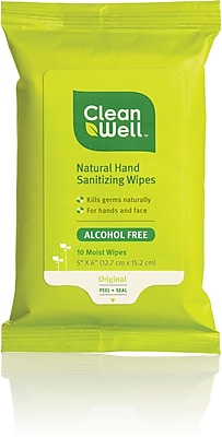CleanWell All-Natural Hand Sanitizing Wipes, Original Scent 10ct