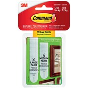 Command™ Medium and Large Picture Hanging Strips, White, 4 Medium Pairs and 8 Large Pairs/Pack  (17209-ES)