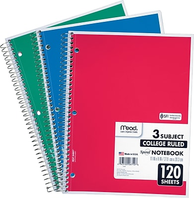 Mead® Spiral® Notebook, 3 Subject, College Ruled, Assorted Colors (06710)