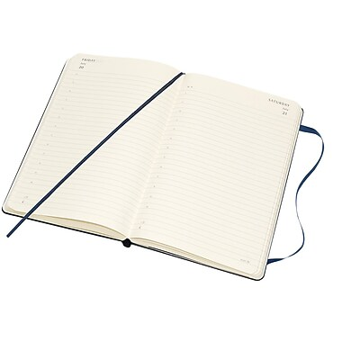 2018 Moleskine 12M Daily Notebook, 5x8, Large Blue Hard (855648)