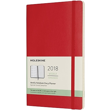 2018 Moleskine 12M Weekly Notebook, 5x8, Large Red Soft (854191)