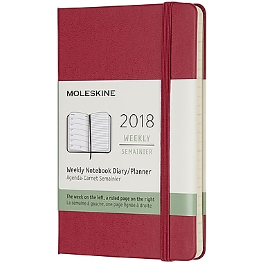 2018 Moleskine 12M Weekly Notebook, 3x5, Pocket Rose Hard (855686)