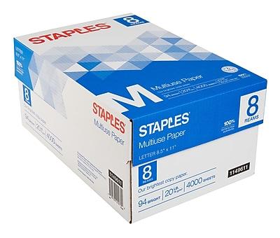 Staples® Multiuse Copy Paper, 20 Lb., 94 Bright, 8 1/2