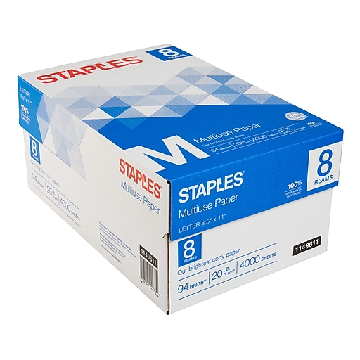 staples multiuse copy paper 8 1 2 x 11 8 ream case staples