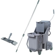 Unger Dual Bucket Kit with Mop Handle and Holder, 32 Quart