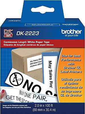 Brother DK2223 Continuous Length Paper Tape, White