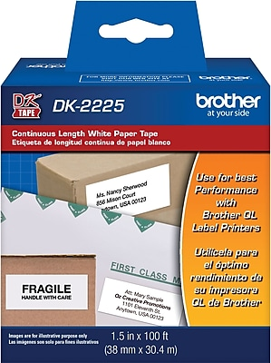 "1.5"" wide Continuous Length White Paper Tape"