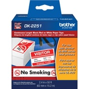 """2.4"""" wide Continuous Length Black/Red on White Paper Tape"""