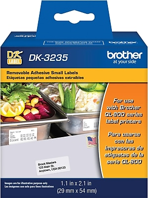 Die-cut small removable paper labels - 1.1 in x 2.1 in (29 mm x 54 mm)