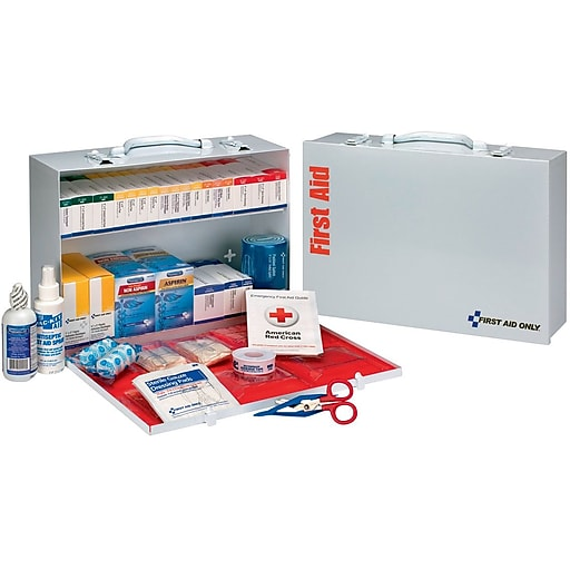 First Aid Only ANSI B+ Type I & II 2 Shelf Metal First Aid Cabinet with Medications, 75 People (90573)