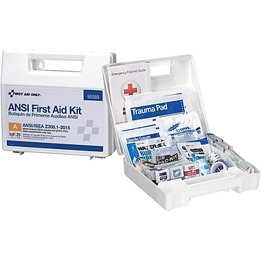 First Aid Only® 25 Person Bulk Plastic ANSI A, First Aid Kit with Dividers (90588)