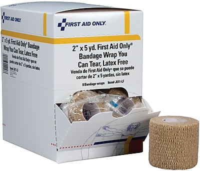 First Aid Only™ Cohesive Elastic Bandage Wrap You Can Tear, Latex-Free, 2