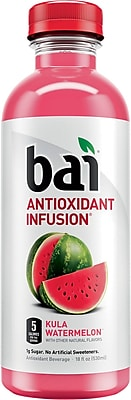 Bai Kula Watermelon, Antioxidant Infused Beverage, 18 Fl. Oz. Bottles, 12/Pack