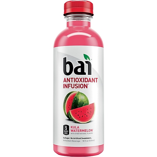 Bai Kula Watermelon, Antioxidant Infused Beverage, 18 Fl. Oz. Bottles, 12/Pack