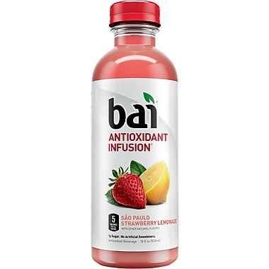 Bai Sao Paulo Strawberry Lemonade, Antioxidant Infused Beverage, 18 Fl. Oz. Bottles, 12/Pack