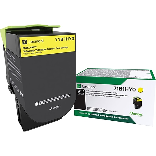 Lexmark CS417 Yellow Toner Cartridge, High Yield (71B1HY0)