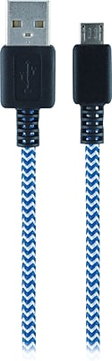 Staples Braided Micro USB Cable - Six Feet, Blue/Silver