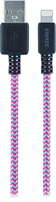 Staples 6' Braided Lightning to USB Charge/Sync Cable, Pink/Teal