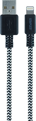 Staples Braided Lightning Charge & Sync Cable - 6 Feet, Black/Silver
