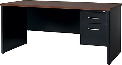 Single Ped Credenza 24D x 72W Right Black and Walnut