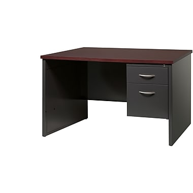 Single Ped Desk Right 30D x 48D Charcoal and Mahogany