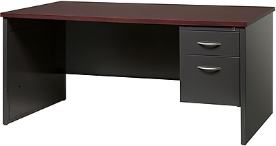 Single Ped Desk Right 30D x 66D Charcoal and Mahogany