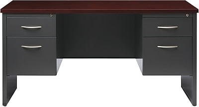 Double Ped Credenza 24D x 60W Charcoal and Mahogany