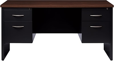 Double Ped Credenza 24D x 60W Black and Walnut